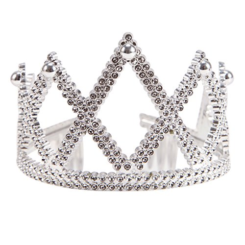 Anladia Königskrone für Kinder und Erwachsene Silber - Karneval Königin König Krone Crown Damen Mädchen Fasching