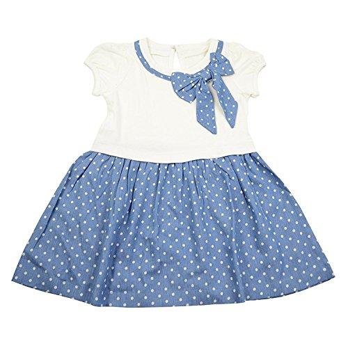 ragazze Guancheng denim senza maniche faux dell'arco del vestito punto dell'onda 100% cotone per bambini (Petite Denim A-gonna)