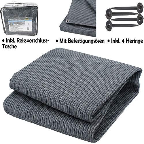 Vorzeltteppich Campingteppich für Wohnmobile Zeltteppich 300x400 Blau-Grau Zeltunterlage Outdoor Camping Vorzelt Teppich Vorzeltboden Zeltboden Terasse, XL Picknickdecke Poolunterlage