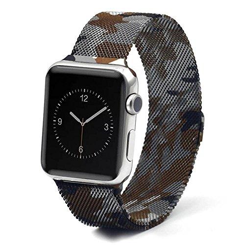 Trop Saint® Cinturino Apple Watch in Maglia Milanese Camuffare (42mm) con Magnete di Blocco - Cinghia Orologio Bracciale a maglie in Acciaio Inossidabile, iWatch Wristband Strap