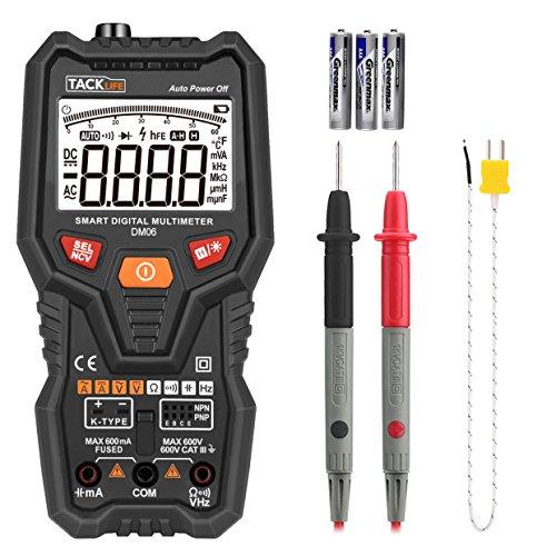 Tacklife-DM06-Multímetro digital completo, inteligente y automatico. Polimetro 6000 counts. NCV Identifica automáticamente la señal de medida. Voltímetro para Voltage, Corriente CA/DC, resistencia, Capacitancia, transitor, temperatura, Frecuencia