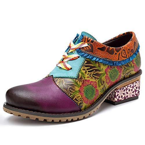 Seraph 2018-8 donne basso blocco tacco pizzo fino pompe di cuoio vestito scarpe fiori handmade modello scarpe,purple,eu36
