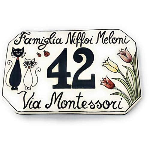 CERAMICHE D'ARTE PARRINI- Ceramica italiana artistica, numero civico in ceramica 20x13 personalizzato, decorazione gatti, dipinto a mano, made in ITALY Toscana