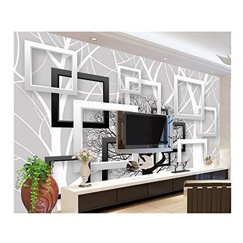 Qqasd Benutzerdefinierte 3D Wallpaper Silhouette Fashion Square 3D Modernes Zuhause Hintergrund Verzierte Tapete für Wände 3 d papier peint-250x175CM -