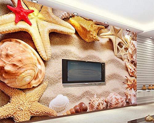 Tapete 3d stereoskopischen Seestern Strand Shell Mittelmeer Wohnzimmer Schlafzimmer TV Hintergrund 3d wallpaper-400X280cm (Shell 635)