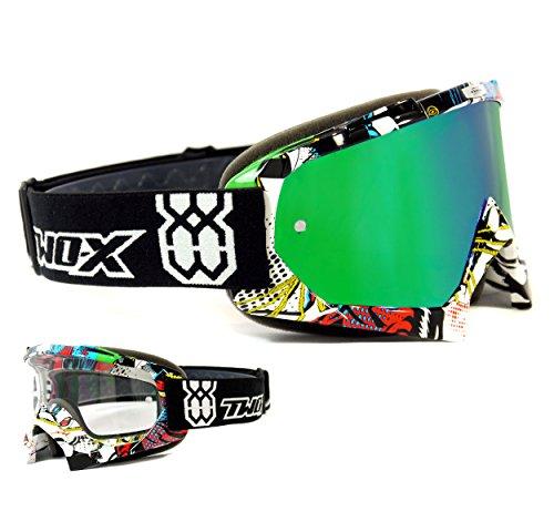 TWO-X Race Crossbrille Villain bunt Glas verspiegelt grün MX Brille Motocross Enduro Spiegelglas Motorradbrille Anti Scratch MX Schutzbrille