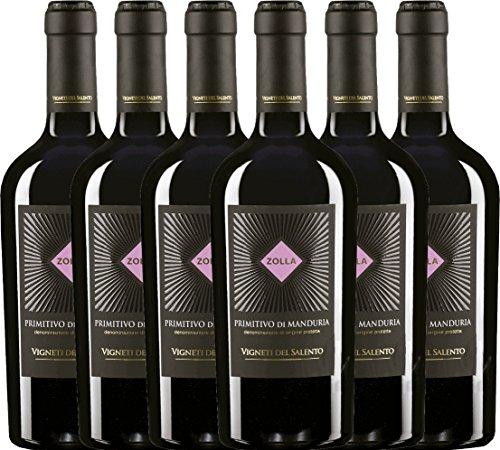6er Vorteilspaket - Zolla Primitivo di Manduria DOP 2017 - Vigneti del Salento | trockener Rotwein | italienischer Wein aus Apulien | 6 x 0,75 Liter