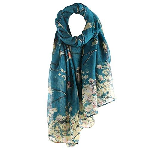 Floral Bedruckte Schal (Valentinstag! Schals Damen, ABsolute Vintage Frauen Floral Bedruckte Lange Schal Warm Wraps Große Tücher (90cm*180cm, Blau))