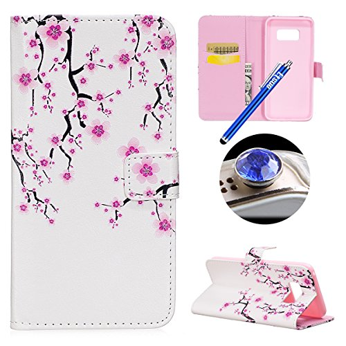 ETSUE Samsung Galaxy S8 Wallet Case,Samsung Galaxy S8 Flip Case, Cute Retro Elegant Design Pattern Pu Leather Flip Case Book Style Type with Stand Card Holder Magnetic Closure for Samsung Galaxy S8 +Blue Stylus Pen+Bling Glitter Diamond Dust Plug(Colors Random)-Pink Peach Blossom