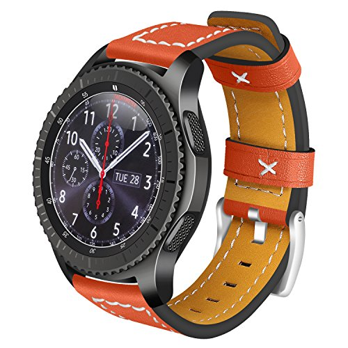 Armbänder für Samsung Gear S3 Frontier Leder, AISPORTS 22mm Samsung Gear S3 Classic Armband Leder Smart Watch Ersatz Uhrenarmbänder für Samsung Gear S3 Frontier/Classic - Orange (Sprint-smart Watch)