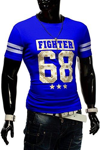 Herren T-Shirt Fighter 68 ID1253 + Brusttasche Blau