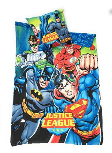 JUSTICE LEAGUE DC COMICS Bettwäsche-Bettbezug wendbar 140x 200cm + Kopfkissenbezug 63x 63cm, Mikrofaser-Öko-Tex-Justice League-Justice League-Superman Flash-Green Lantern-Batman