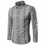SOMESUN Hemden Herren Bluse Freizeit Herren Freizeithemden Shirt Tops Mode Langarmlig Men's Casual Dress Slim Fit Mode Herrenhemd Tasche Baumwolle Langarm Shirt (Grau, XL)
