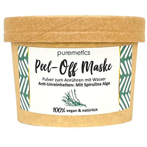 "puremetics Zero Waste Peel-Off Maske\""Anti-Unreinheiten - Mit Spirulina Alge\"" | 100{0c12bd7b1c94d340195adc20f35f8dfc9e5e86a438aeff6a1e7595da86629377} natürlich, vegan & plastikfrei | Naturkosmetik ohne Plastik | Für unreine, fettige Haut & Akne"