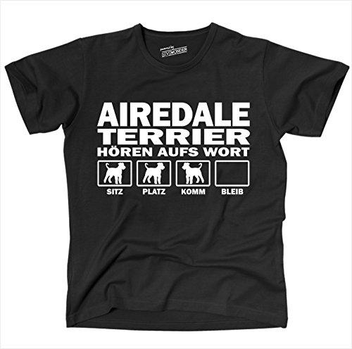 Siviwonder Unisex T-Shirt Airedale Terrier Hunde Hören Aufs Wort Schwarz - Weiß S