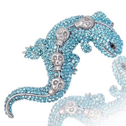 Ever Faith Exquisite Gecko 4 Skulls Spilla