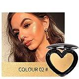 HONG98-3D Shimmer Highlighter Face Powder Palette Face Base brillo Iluminador Contorno compacto Maquillaje en polvo/iluminador en polvo impermeable Designer/FORMA DE CORAZÓN ÚNICA (B)