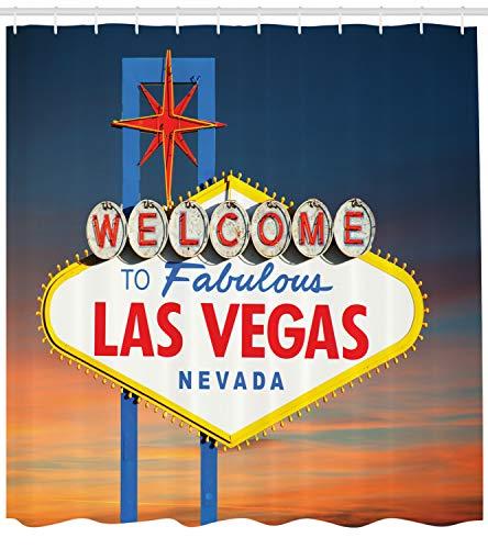 Staaten von Amerika Duschvorhang, Fabulous Las Vegas Nevada, mit 12 Ringe Set Wasserdicht Stielvoll Modern Farbfest und Schimmel Resistent, 175x220 cm, Mehrfarbig ()