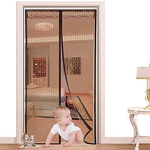 PQW Magnet Fliegengitter Tür Insektenschutz Balkontür Easy Install Anti-Mosquito Insekt Freundlich Hände Frei Magnetisch Haus Schutz Netting Mesh Mit Schwer Pflicht, Für Die Balkontür,Brown,120x230cm