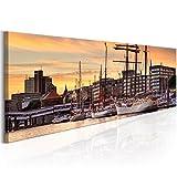 murando - Bilder Hamburg 135x45 cm Vlies Leinwandbild 1 TLG Kunstdruck modern Wandbilder XXL Wanddekoration Design Wand Bild - Stadt Hamburg Panorama d-B-0165-b-a