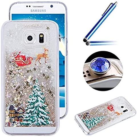 [ Samsung Galaxy Note 5 ] Brillante Funda Shell, Ultra-Delgada Transparente del Caso del Patrón TPU de Silicona Funda para el iPhone 6S / iPhone 6 ,Gel Fluido Líquido interno del Centelleo del Modo dinámico [Brillante de Navidad Patrón] Cubierta de la Caja del Teléfono para el iPhone 6S / iPhone 6+ 1 x Blue Stylus Pen + 1 x tapón anti polvo (colores aleatorios) - Dorado árbol de