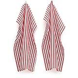 FILU Geschirrhandtücher 4 Stück (100% Baumwolle) Rot/Weiß gestreift 45 x 70 cm (Farbe und Design wählbar); hochwertig gefertigte Küchenhandtücher/Geschirrtücher im skandinavischen Landhaus-Stil