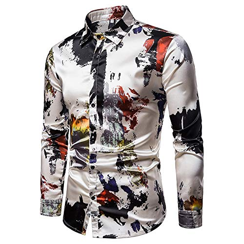 Mens Dress Casual Shirts Mens Graffiti Print Metallic Shiny Nachtclub Slim Fit Revers Kragen Langarm Button Down Shirt für Disco Party Bankett Slim Fit Dress Shirt ( Farbe : Mehrfarbig , Größe : M ) -