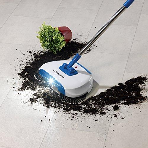Bodenkehrer Teppichkehrer mit LED-Beleuchtung ( Version 2018 ) mit 3 Bürsten, Kehrbesen, Auffangbehälter, Rotierende, Langer Schwenkbarer Stil, Reinignungsmaschine und Kehrset 4,5V