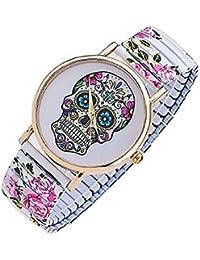 PDHU - Reloj de pulsera de acero inoxidable con diseño de calavera y flores