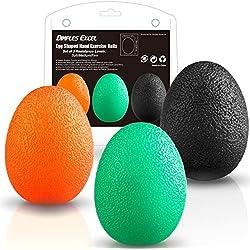 Dimples Excel Pelotas anti estrés bolas en Forma de Huevo para Ejercicios y Rehabilitación Fortalecimiento de Manos y Dedos (naranja suave + verdemedio + negro firma)
