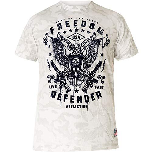Affliction T-Shirt FD Smash Hellgrau/Weiß, XXL - Affliction T-shirt Aus Baumwolle