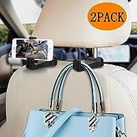 خطاف مسند السيارة مع حامل الهاتف Normei 2 في 1 مقعد السيارة الخلفي لمسند الرأس شماعات لحقائب الحقائب والحقائب القماشية (2 حزمة)