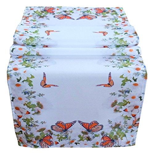 Tischläufer 40 x 140 cm Tischdecke Mitteldecke Ostern Tischdeko Frühling weiß bunt Blumen und Schmetterlinge (Orange-blumen-tischdecke)