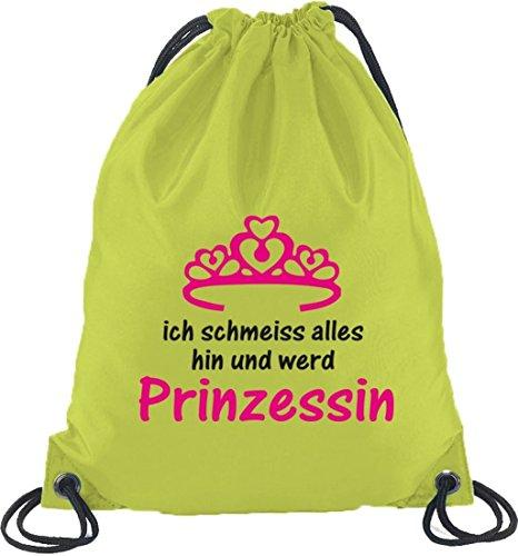 Shirtstreet24, Ill Princess, Palestra Zaino Sport Borsa Lime