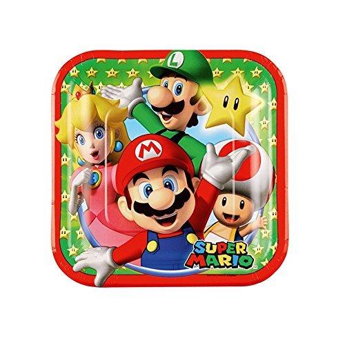 Generique - 8 Petites Assiettes en Carton Super Mario 18 cm