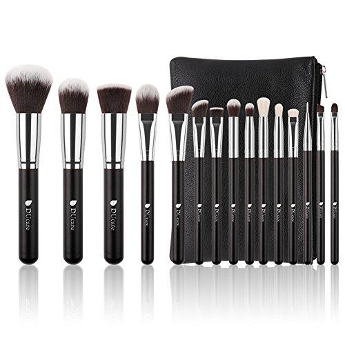 Kosmetik Tasche Pinsel-set (DUcare Makeup Pinsel Set 15 Stück Schwarz Gesicht Professionelles Foundation Lidschatten Kosmetik Brushes Kit mit Tasche)