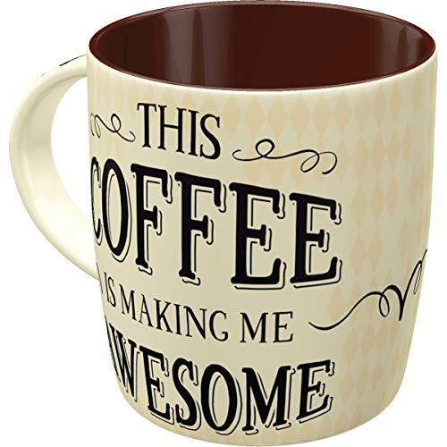 Nostalgic-Art 43026 Retro Kaffee-Becher Word Up - Awesome, Lustige große Tasse mit Spruch, Geschenk-Idee für Vintage-Liebhaber, 330 ml Vintage Coffee Cups