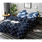Magnetic Shadow Glace Cotton 160 TC Quilt Cover (Double_Blue)