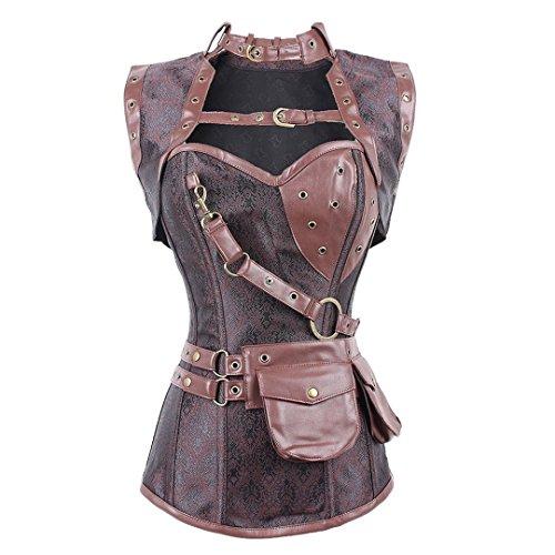 (FeelinGirl Damen Korsett mit Stahlstäbchen - Brokatmuster - Retro/Gothic/Steampunk-Stahl ohne Knochen, Braun, S(EU 34))