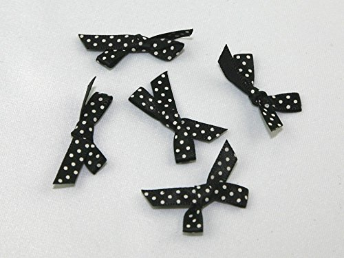 Polka Dot Satin-Schleifen Schwarz/Weiß–Pro 18Stück + Gratis Minerva Crafts Craft Guide (Schleife Polka Satin Dot)