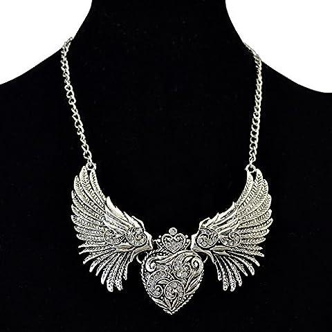 Corea Fashion placcato argento angelo ala a forma di cuore collana con pendente con cristallo trasparente
