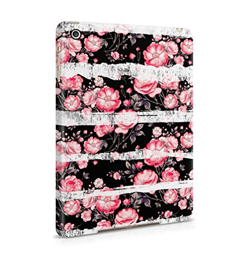 Candy Pink Flower Blossoms & White Pale Stripes Pattern Dünne Rückschale aus Hartplastik für iPad Mini 2 & Mini 3 Tablet Hülle Schutzhülle Slim Fit Case Cover -