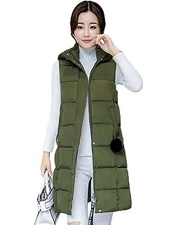 d61900c7dd0952 Yiiquan Damen Lang Warm Steppweste Plus Size Jacke Outwear Winter Weste  Kapuze
