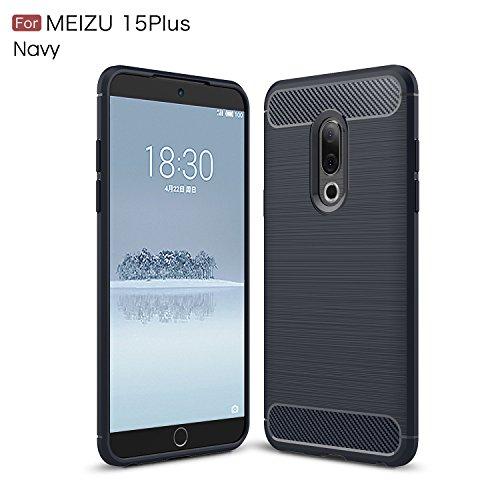 TianTa Meizu 15 Plus Hülle Carbon Fiber Look Ultra Slim Leicht Anti-Scratch Hülle Gummi TPU Phone Case für Meizu 15 Plus (2018) (5.95
