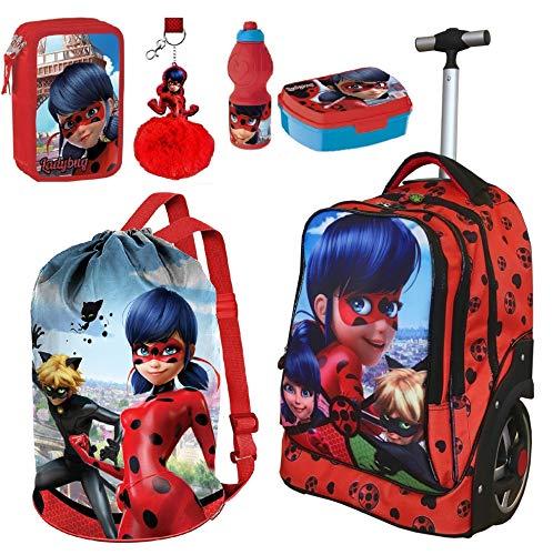 Ladybug miraculous split zaino trolley scuola,astuccio triplo,set colazione,sacca sport