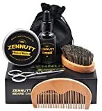 ZENNUTT Ultimate Beard Care Kit for Men w/Free Beard Conditioner & Beard Balm Butter & Beard Oil & 100% Boar Beard Brush & Wood Beard Comb & Beard & Mustache Scissors,Best Gift Set