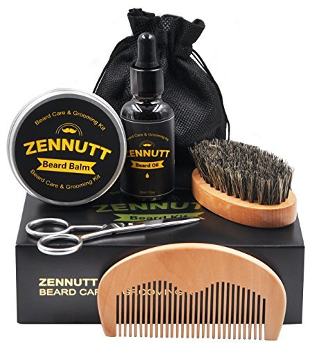 beard kit for mens gifts set beard grooming & trimming kits w/unscented conditioner oil + beard butter balm wax + beard care brush + beard & mustache comb + beard scissors for shaping moisturizing