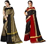 Art Décor Sarees Women's Cotton Silk Saree With Blouse – Pack Of 2 Saree (More then 30 Colors Available)