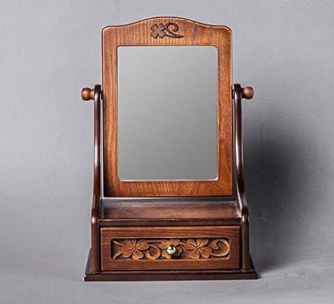 XYLUCKY Boîte de bijoux rétro miroir sculpté en bois modèle créatif Vanity Table mirroir de maquillage pour les femmes