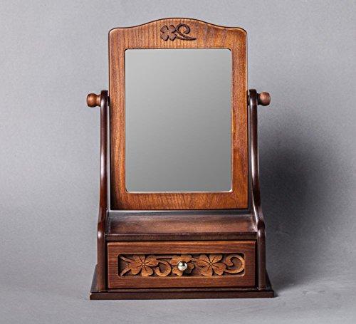 MEYLEE Handgemachte Retro Schmuck Box Spiegel geschnitzten hölzernen Muster kreative Eitelkeit Tabelle Make-up Spiegel für Frauen -